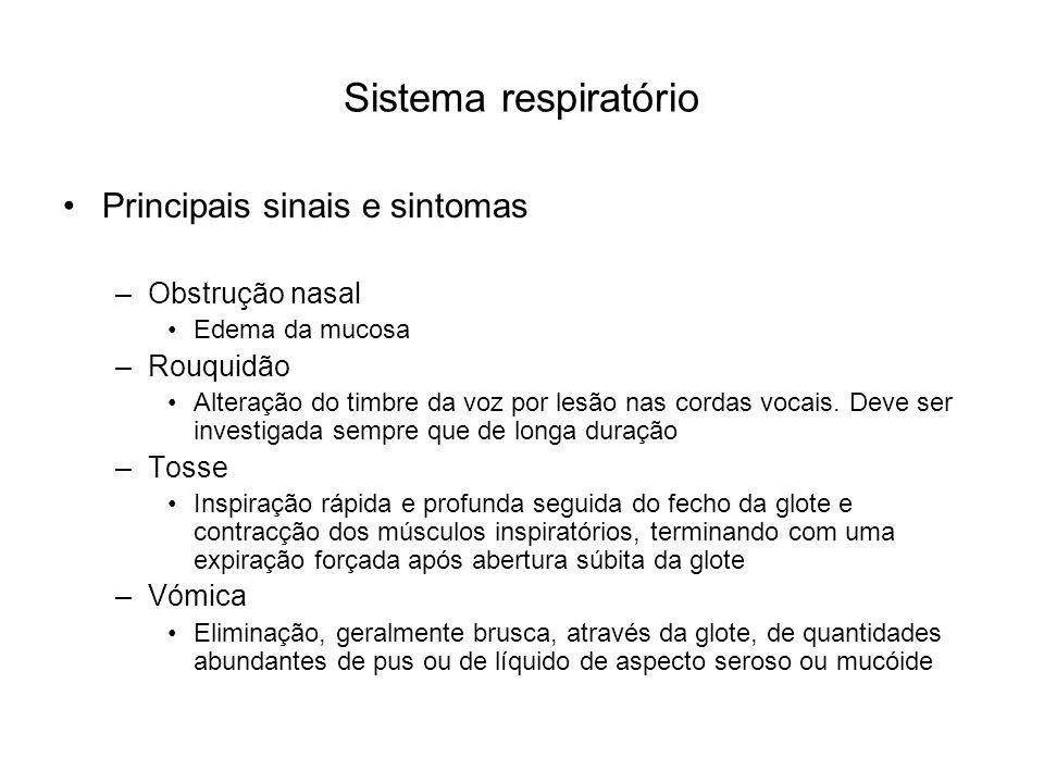 Sistema respiratório Principais sinais e sintomas Obstrução nasal