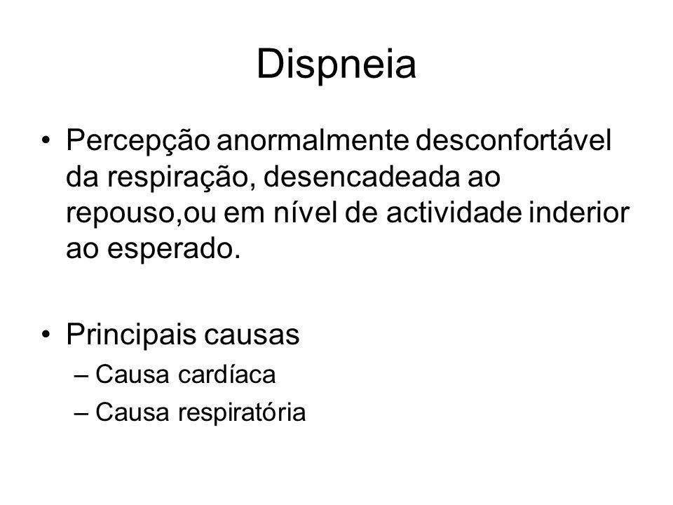 Dispneia Percepção anormalmente desconfortável da respiração, desencadeada ao repouso,ou em nível de actividade inderior ao esperado.