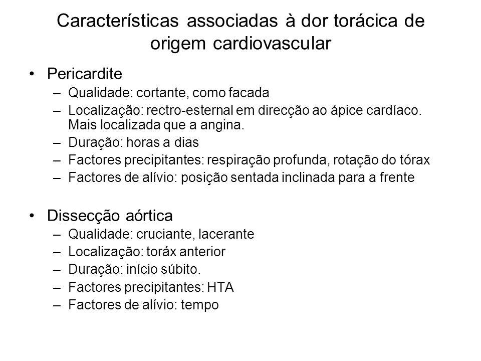 Características associadas à dor torácica de origem cardiovascular