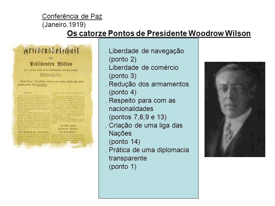 Conferência de Paz (Janeiro.1919) Os catorze Pontos de Presidente Woodrow Wilson. . Liberdade de navegação.