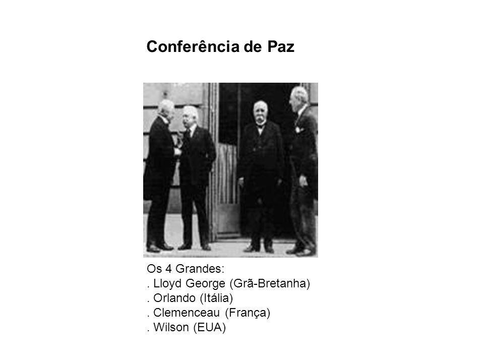 Conferência de Paz Os 4 Grandes: . Lloyd George (Grã-Bretanha) . Orlando (Itália) . Clemenceau (França)
