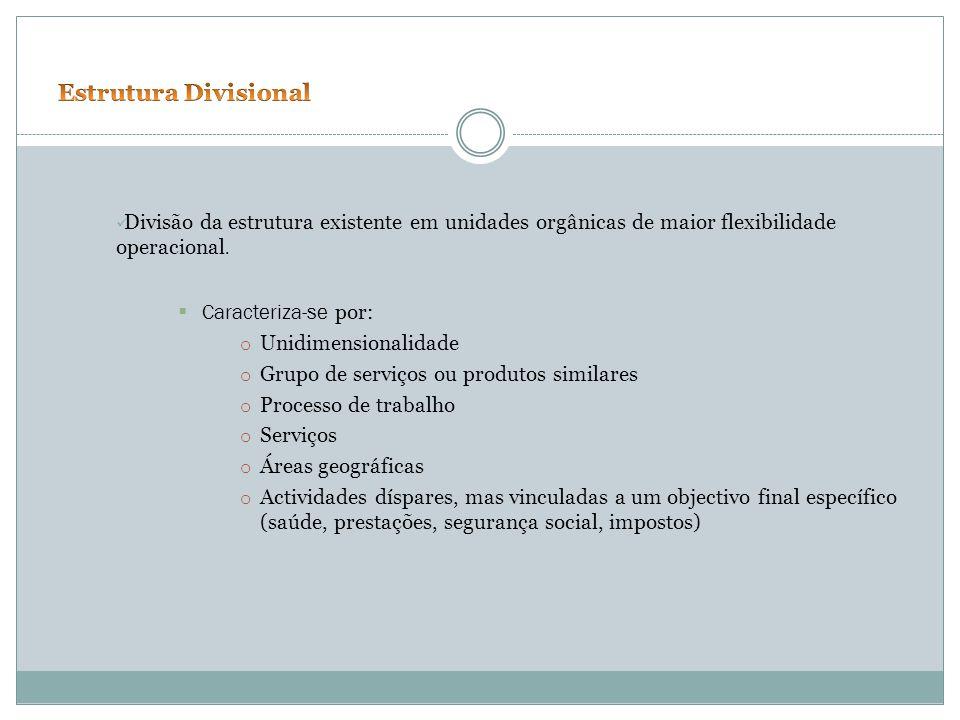 Estrutura Divisional Divisão da estrutura existente em unidades orgânicas de maior flexibilidade operacional.