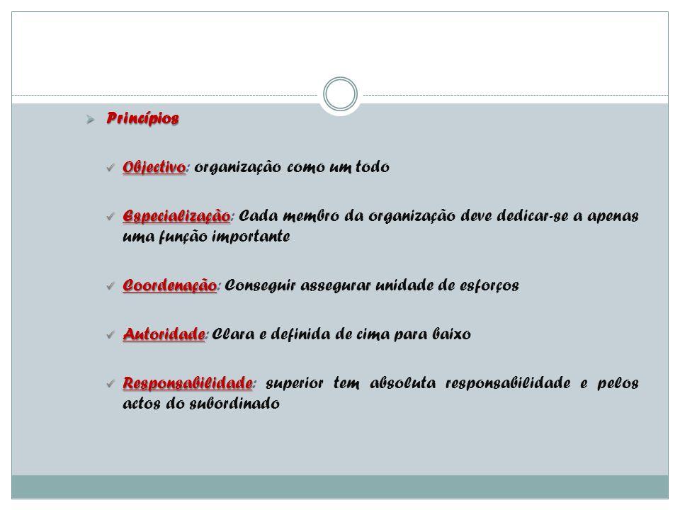 Departamentalização Princípios. Objectivo: organização como um todo.