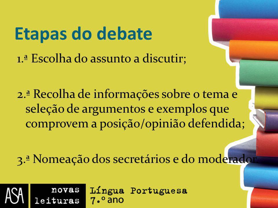 Etapas do debate 1.ª Escolha do assunto a discutir;