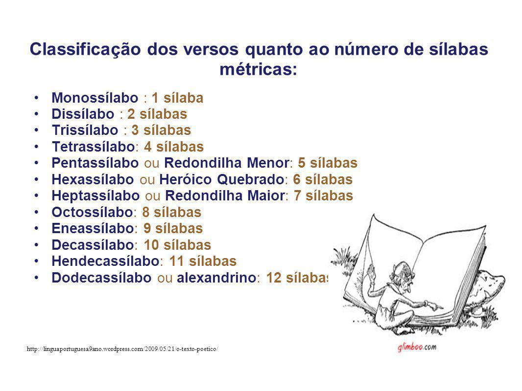 Classificação dos versos quanto ao número de sílabas métricas: