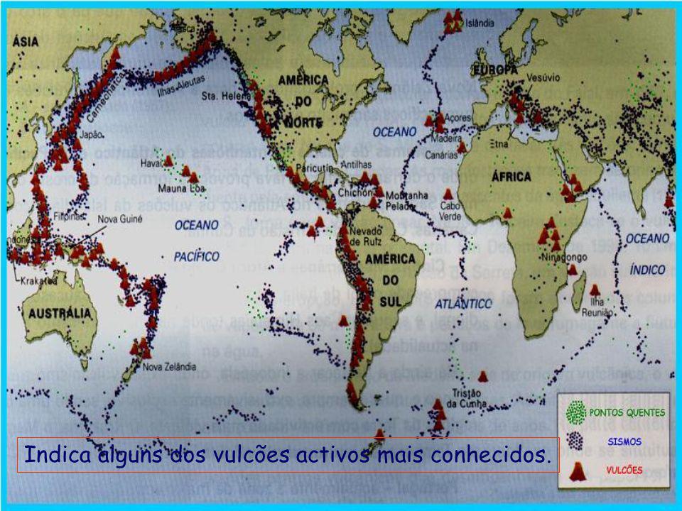 Indica alguns dos vulcões activos mais conhecidos.