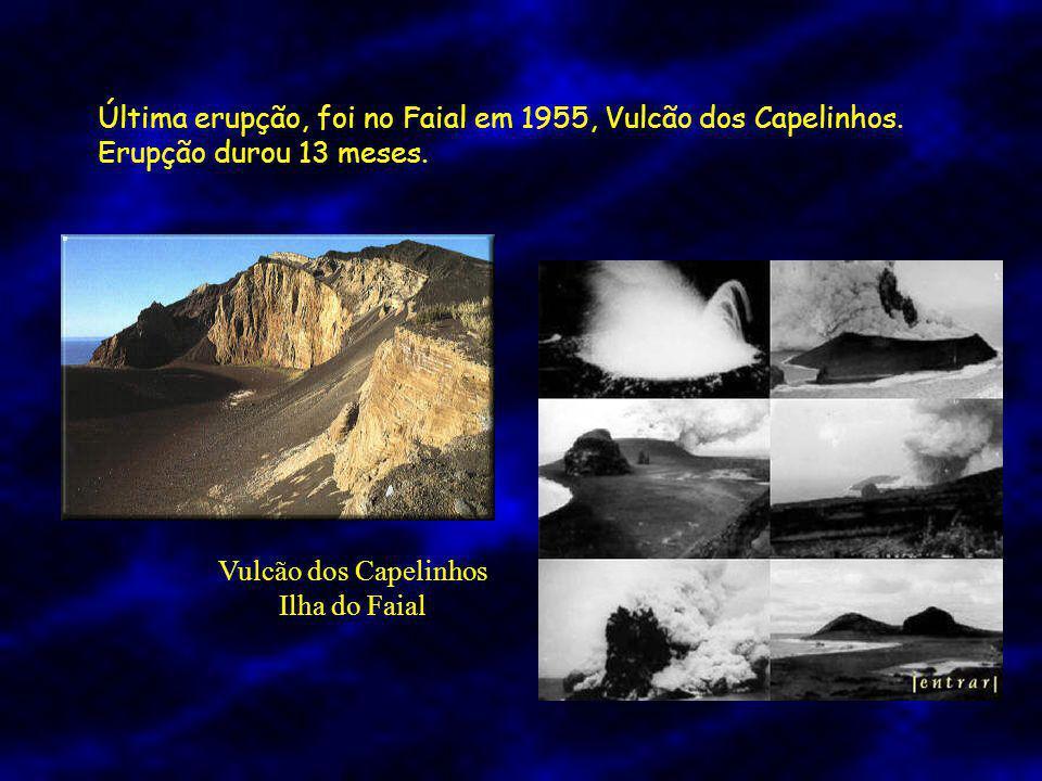 Última erupção, foi no Faial em 1955, Vulcão dos Capelinhos.