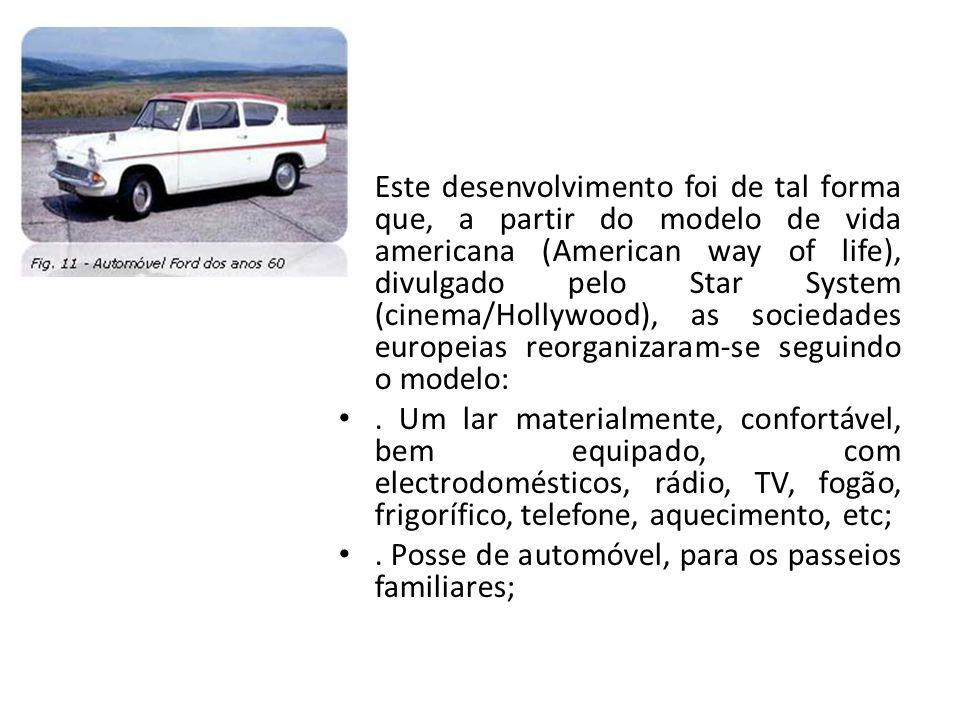 Este desenvolvimento foi de tal forma que, a partir do modelo de vida americana (American way of life), divulgado pelo Star System (cinema/Hollywood), as sociedades europeias reorganizaram-se seguindo o modelo: