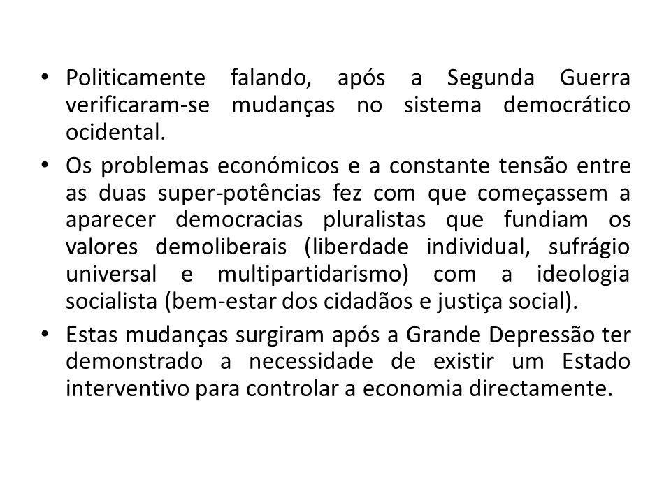 Politicamente falando, após a Segunda Guerra verificaram-se mudanças no sistema democrático ocidental.