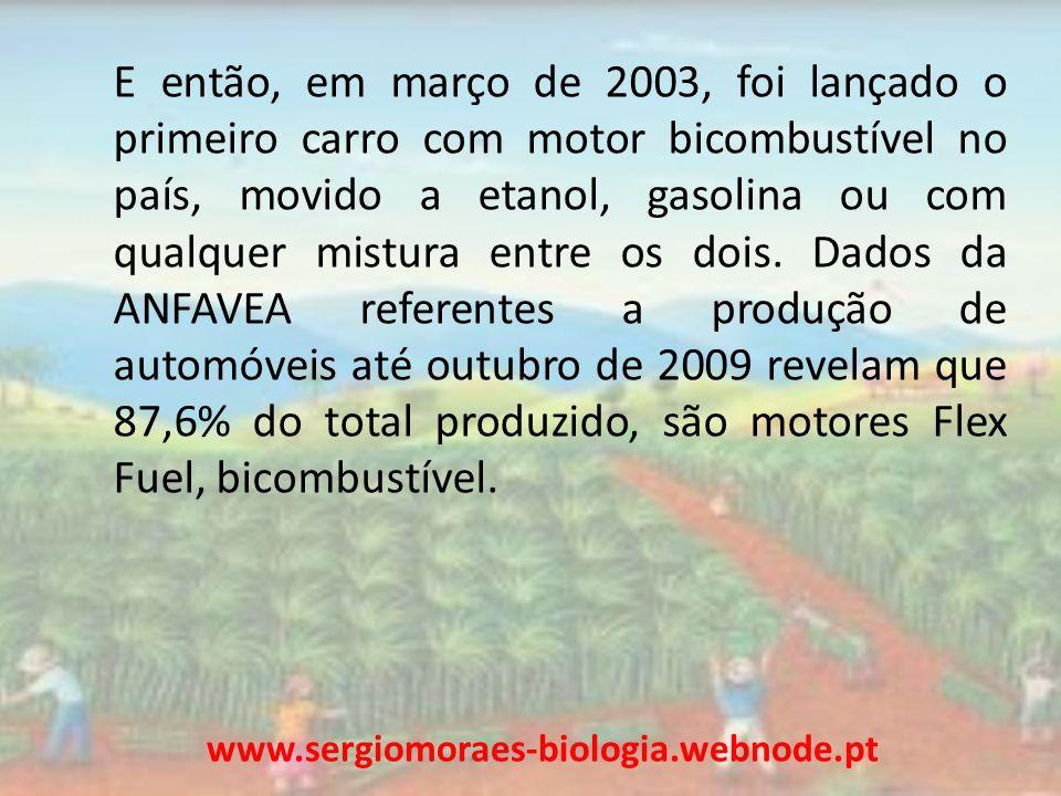 E então, em março de 2003, foi lançado o primeiro carro com motor bicombustível no país, movido a etanol, gasolina ou com qualquer mistura entre os dois. Dados da ANFAVEA referentes a produção de automóveis até outubro de 2009 revelam que 87,6% do total produzido, são motores Flex Fuel, bicombustível.
