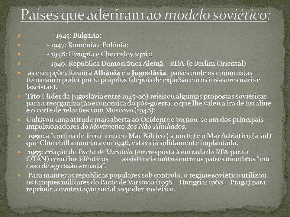 Países que aderiram ao modelo soviético:
