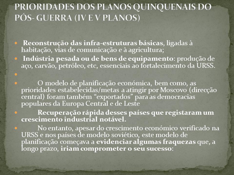 PRIORIDADES DOS PLANOS QUINQUENAIS DO PÓS- GUERRA (IV E V PLANOS)
