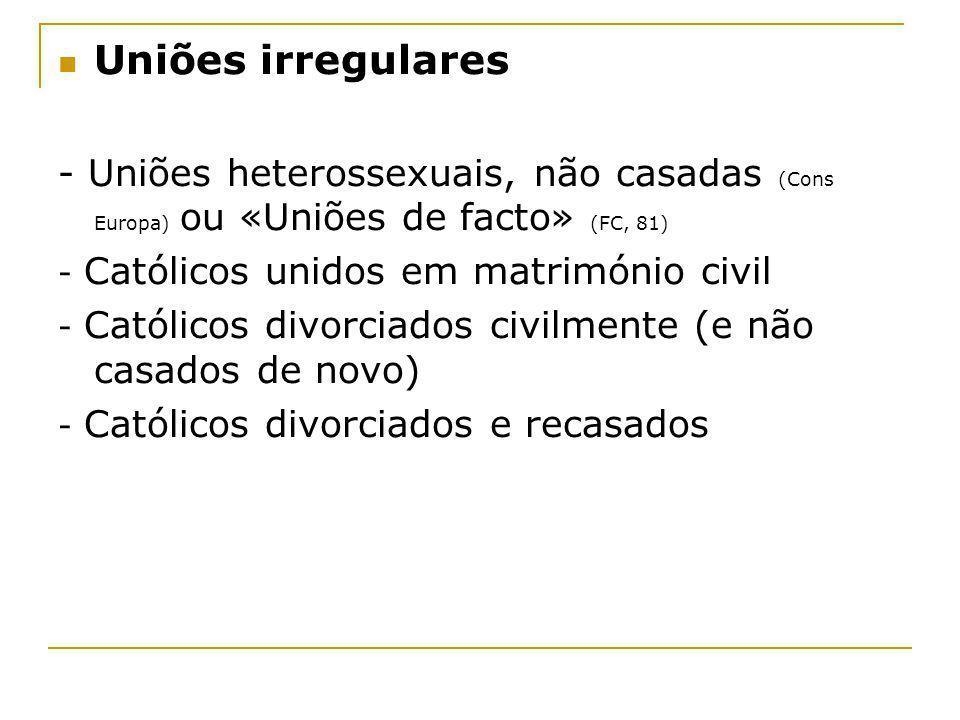 Uniões irregulares - Uniões heterossexuais, não casadas (Cons Europa) ou «Uniões de facto» (FC, 81)