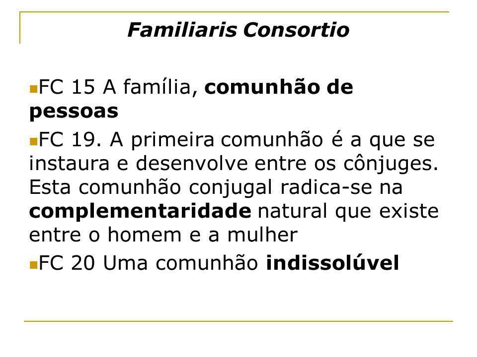 Familiaris Consortio FC 15 A família, comunhão de pessoas.