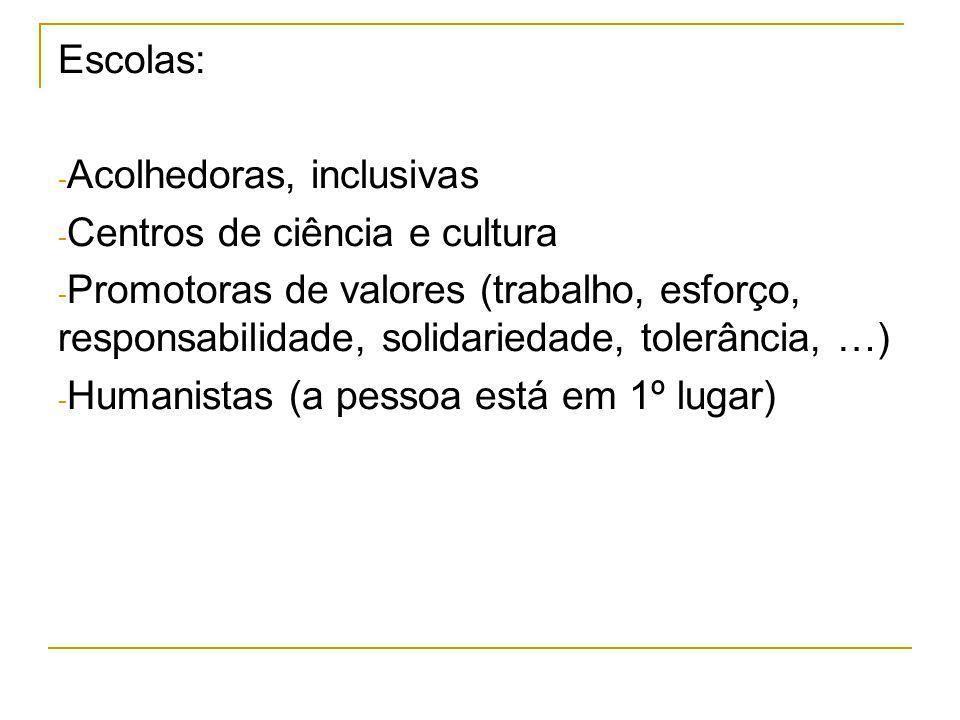 Escolas: Acolhedoras, inclusivas. Centros de ciência e cultura.