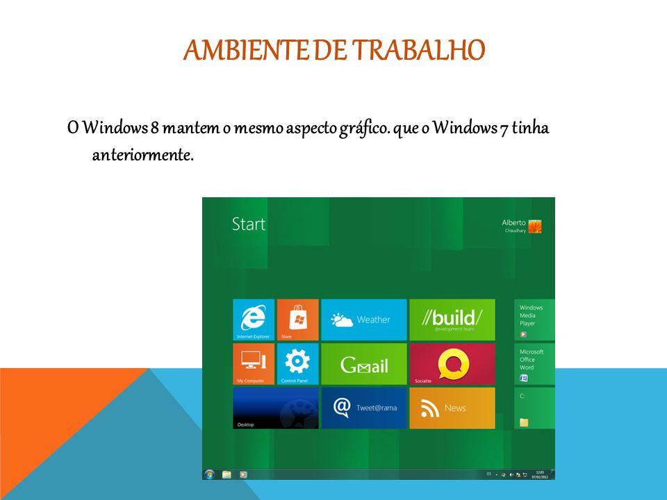 Ambiente de trabalho O Windows 8 mantem o mesmo aspecto gráfico.