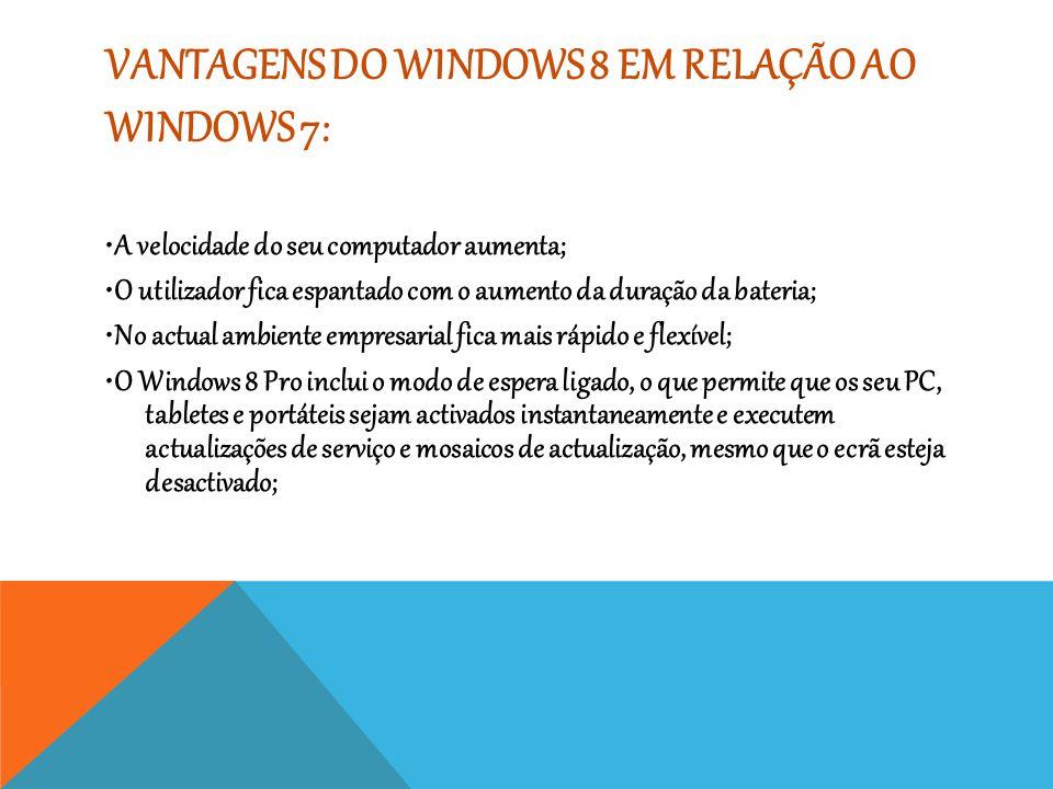 Vantagens do Windows 8 em relação ao Windows 7: