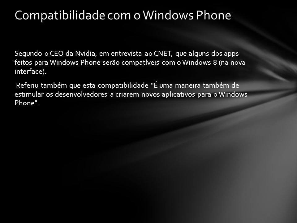 Compatibilidade com o Windows Phone