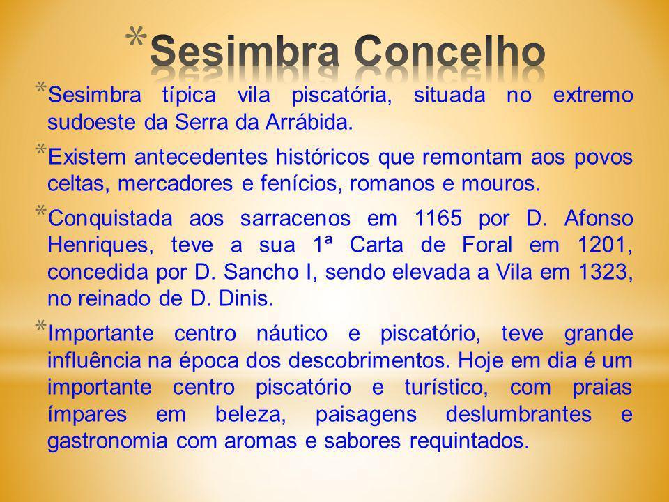 Sesimbra Concelho Sesimbra típica vila piscatória, situada no extremo sudoeste da Serra da Arrábida.