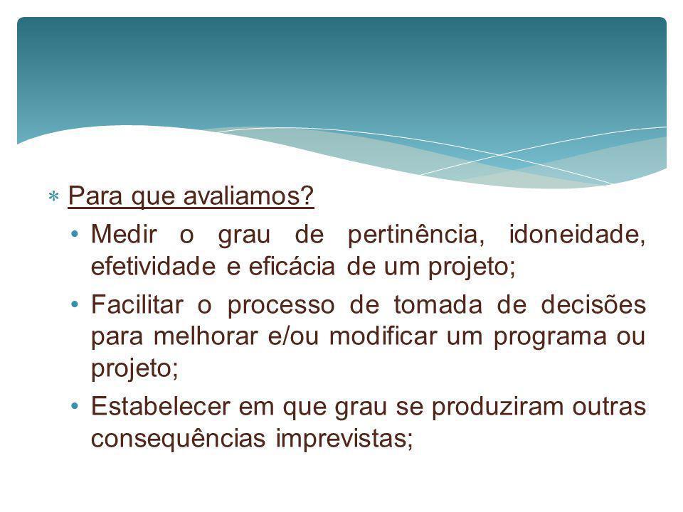 Para que avaliamos Medir o grau de pertinência, idoneidade, efetividade e eficácia de um projeto;