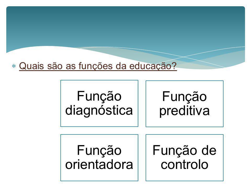 Função diagnóstica Função preditiva Função orientadora