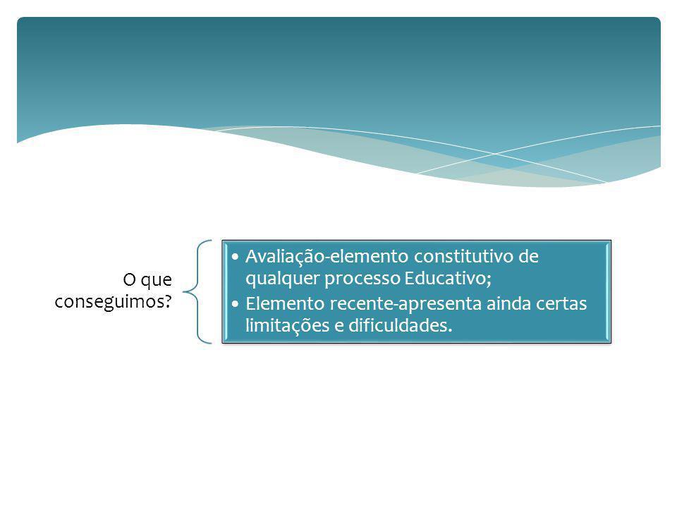 O que conseguimos Avaliação-elemento constitutivo de qualquer processo Educativo;