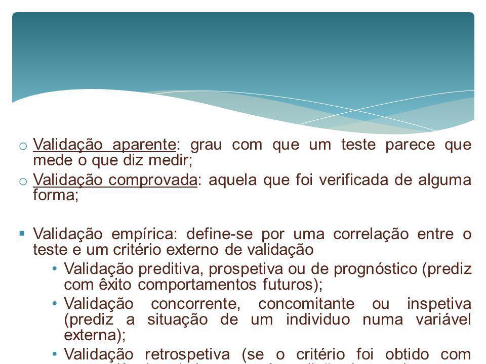 Validação aparente: grau com que um teste parece que mede o que diz medir;