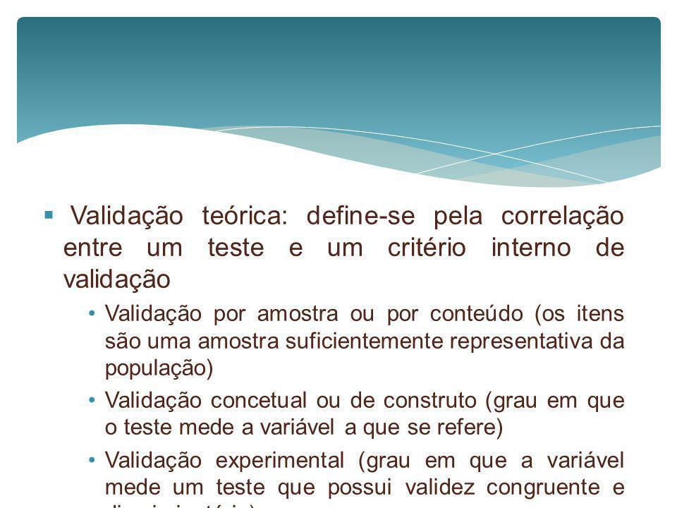 Validação teórica: define-se pela correlação entre um teste e um critério interno de validação