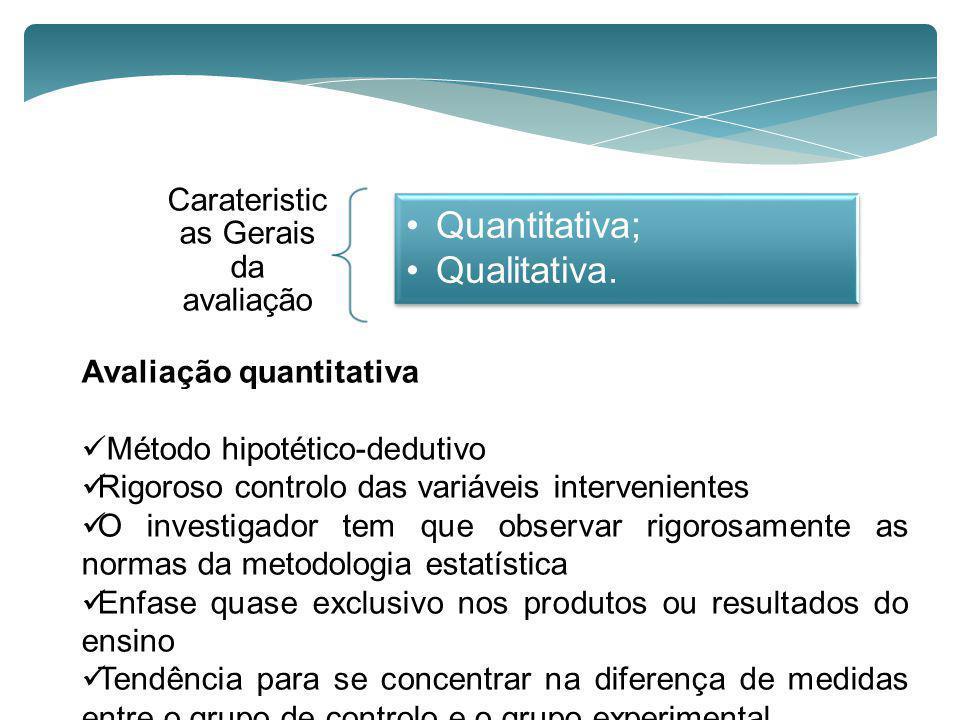 Carateristicas Gerais da avaliação