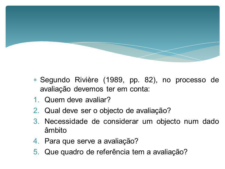 Segundo Rivière (1989, pp. 82), no processo de avaliação devemos ter em conta:
