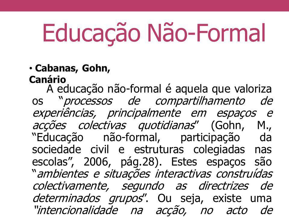 Educação Não-Formal Cabanas, Gohn, Canário.