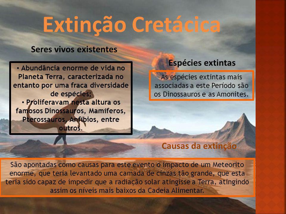 Extinção Cretácica Seres vivos existentes Espécies extintas
