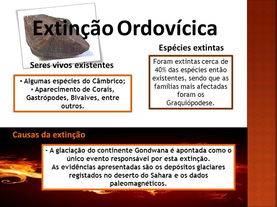 Extinção Ordovícica Espécies extintas Seres vivos existentes