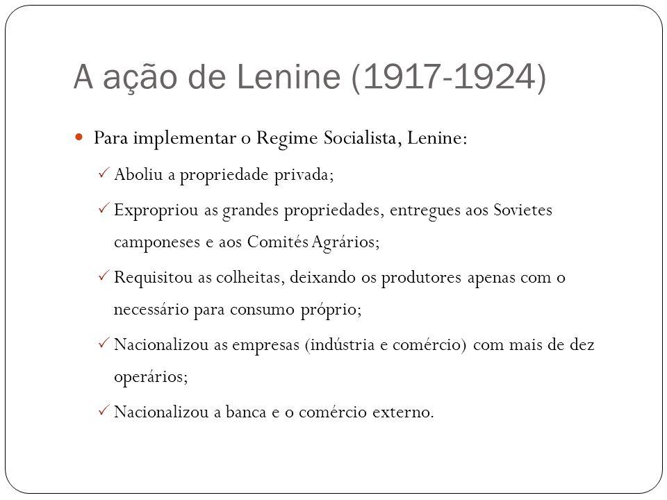 A ação de Lenine (1917-1924) Para implementar o Regime Socialista, Lenine: Aboliu a propriedade privada;