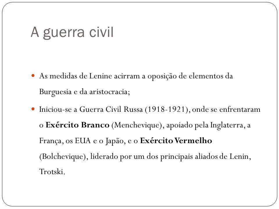 A guerra civil As medidas de Lenine acirram a oposição de elementos da Burguesia e da aristocracia;