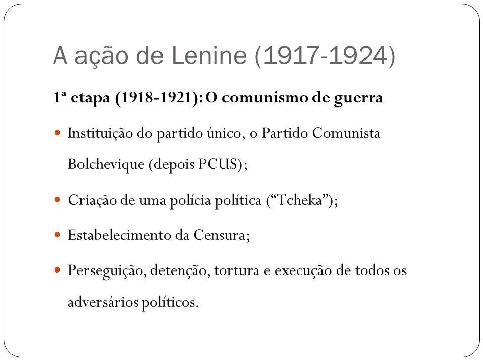 A ação de Lenine (1917-1924) 1ª etapa (1918-1921): O comunismo de guerra.