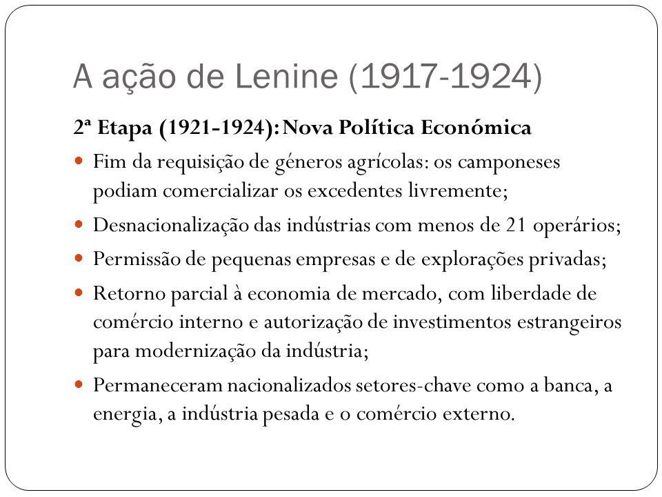 A ação de Lenine (1917-1924) 2ª Etapa (1921-1924): Nova Política Económica.