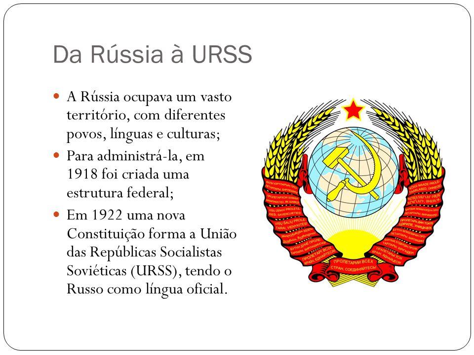 Da Rússia à URSS A Rússia ocupava um vasto território, com diferentes povos, línguas e culturas;