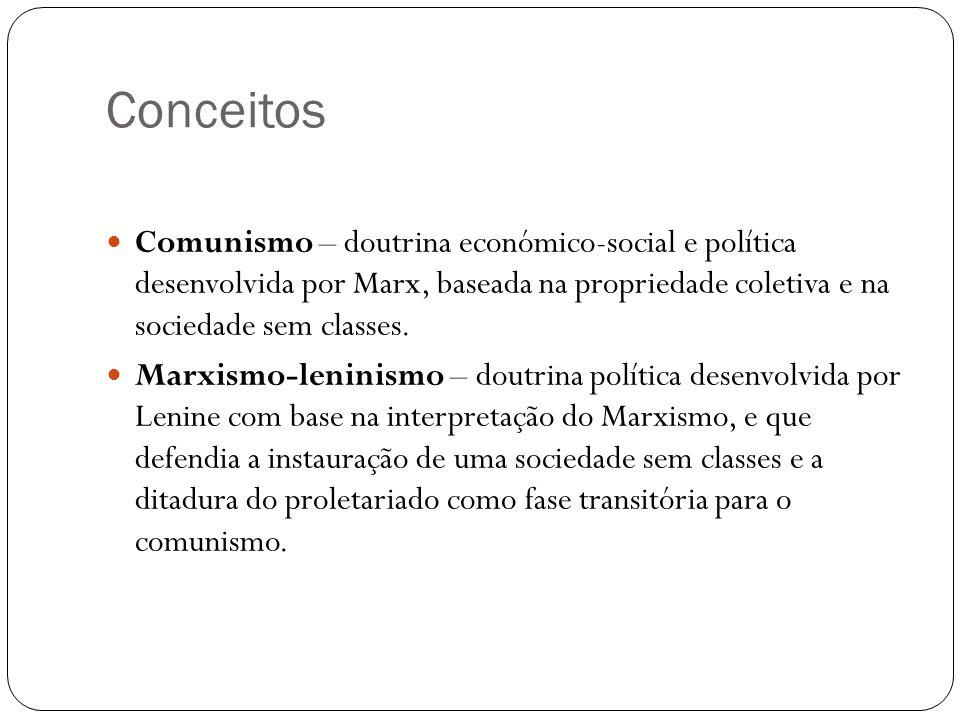 Conceitos Comunismo – doutrina económico-social e política desenvolvida por Marx, baseada na propriedade coletiva e na sociedade sem classes.