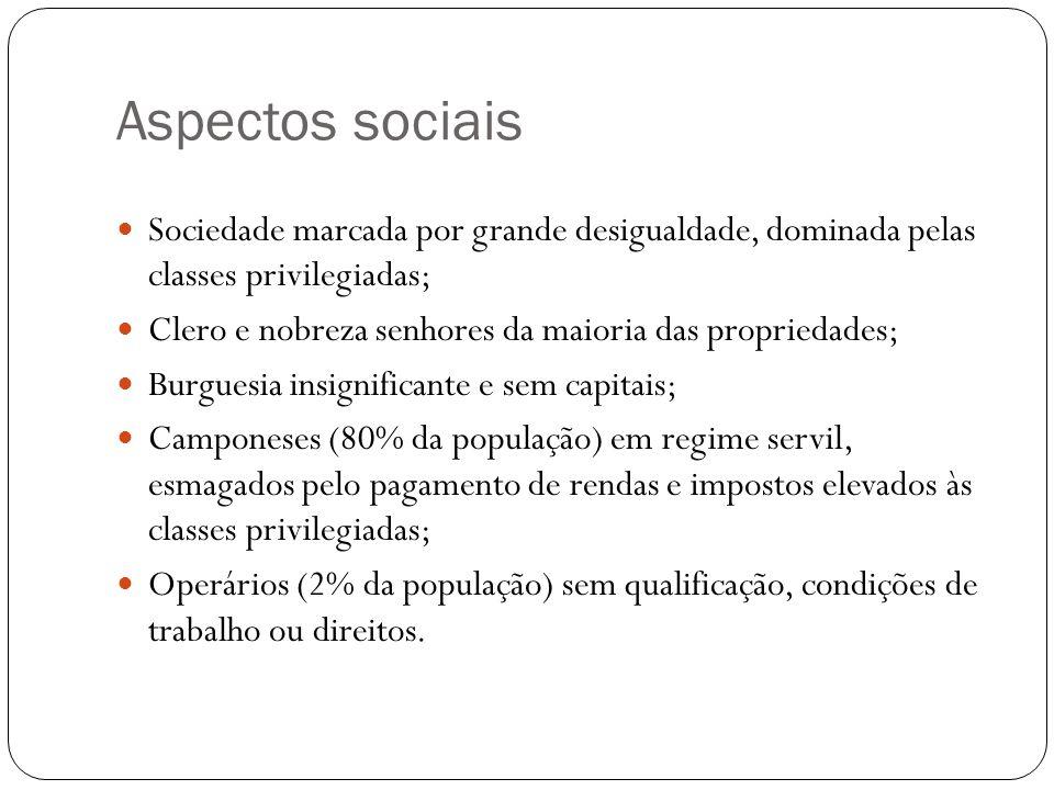 Aspectos sociais Sociedade marcada por grande desigualdade, dominada pelas classes privilegiadas;