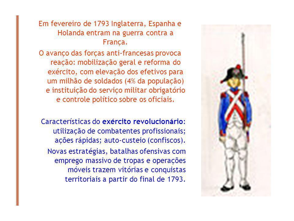Em fevereiro de 1793 Inglaterra, Espanha e Holanda entram na guerra contra a França.