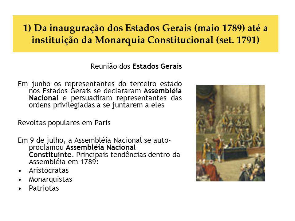 1) Da inauguração dos Estados Gerais (maio 1789) até a instituição da Monarquia Constitucional (set. 1791)