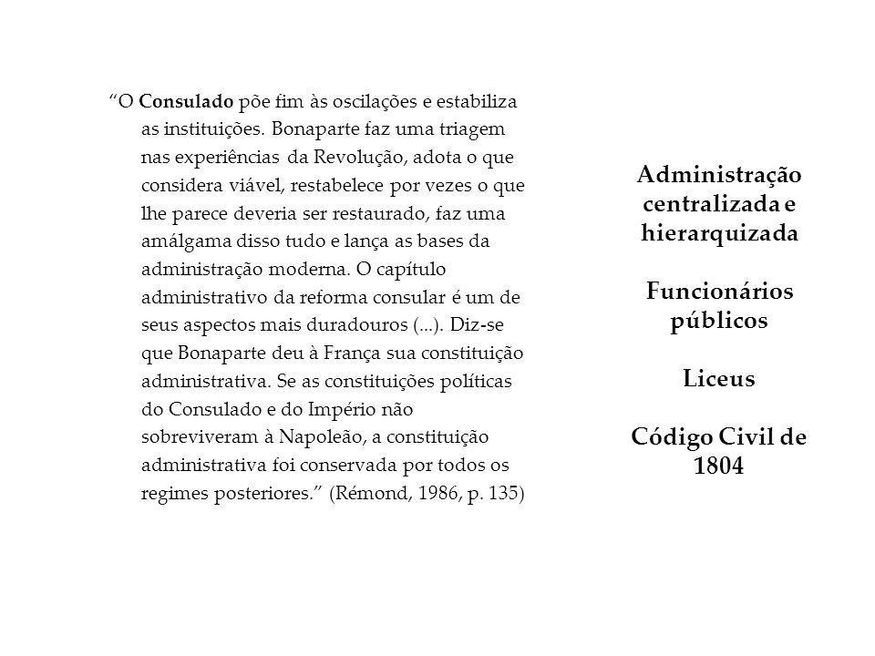 Administração centralizada e hierarquizada Funcionários públicos