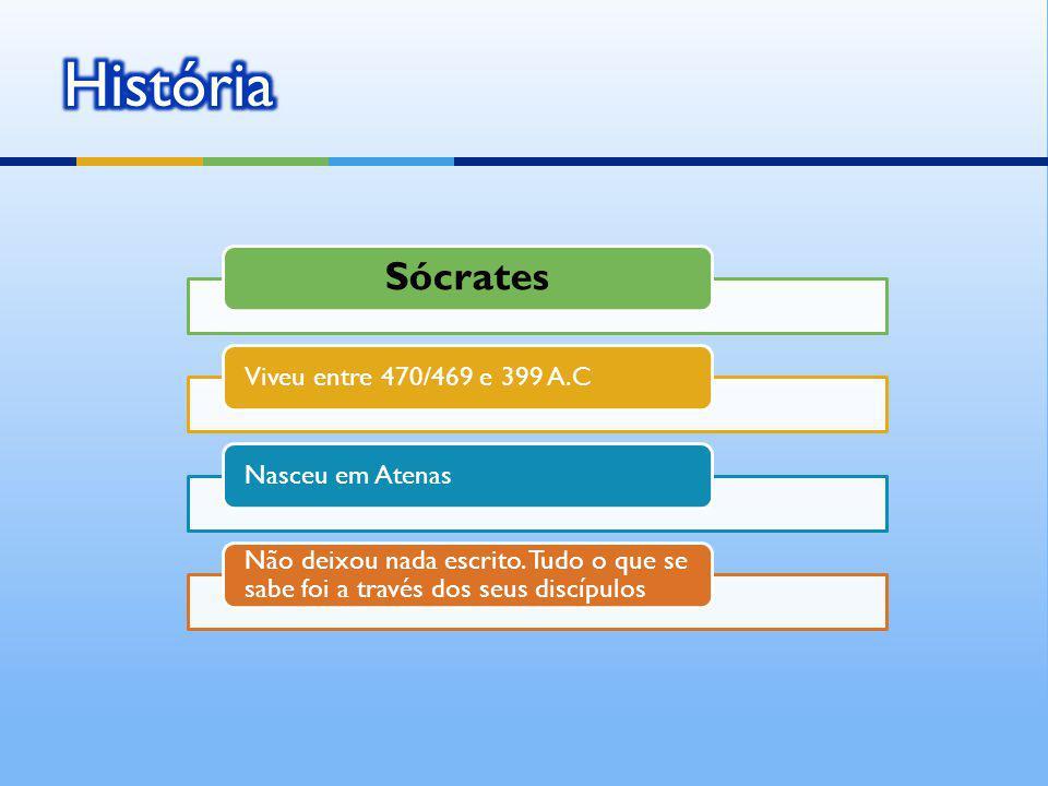 História Sócrates Viveu entre 470/469 e 399 A.C Nasceu em Atenas