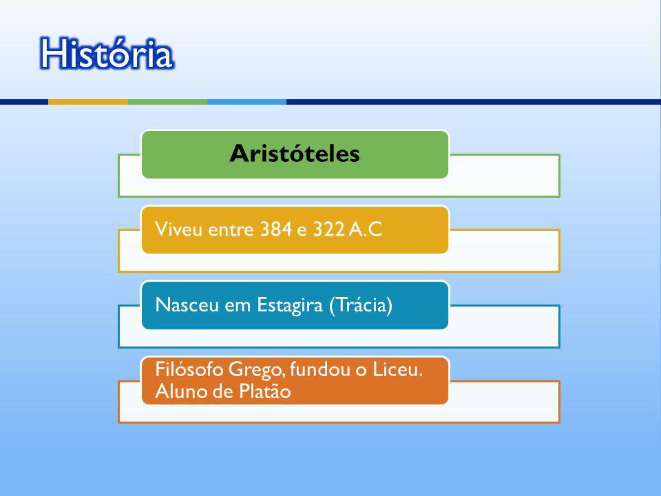 História Aristóteles Viveu entre 384 e 322 A.C