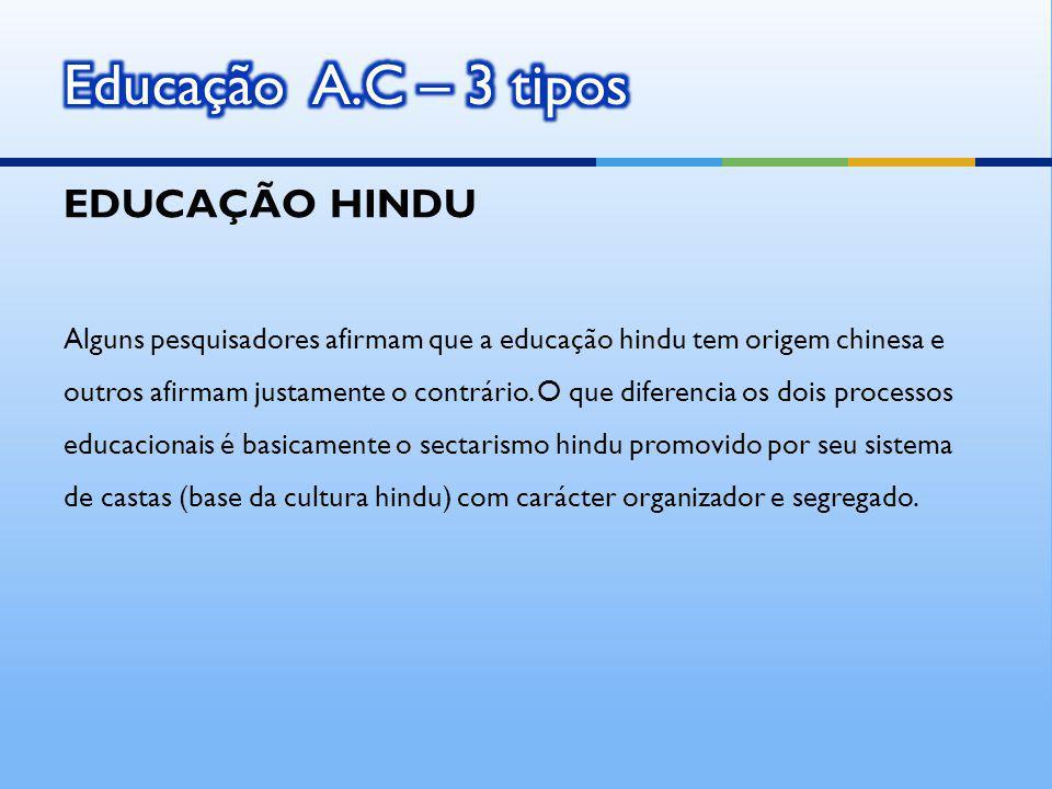Educação A.C – 3 tipos EDUCAÇÃO HINDU