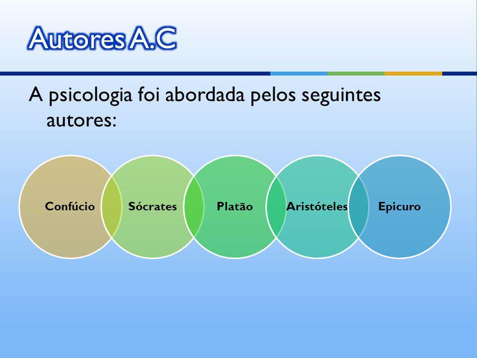 Autores A.C A psicologia foi abordada pelos seguintes autores: