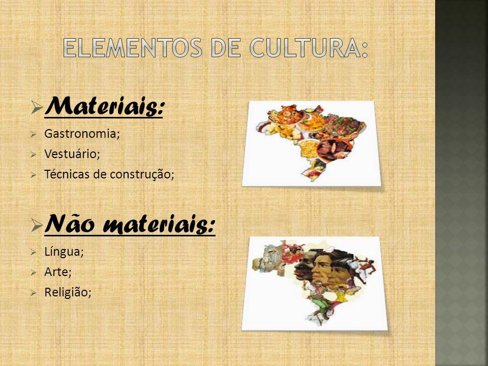 Materiais: Não materiais: Elementos de cultura: Gastronomia;
