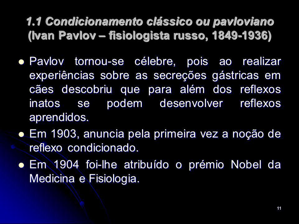 1.1 Condicionamento clássico ou pavloviano (Ivan Pavlov – fisiologista russo, 1849-1936)