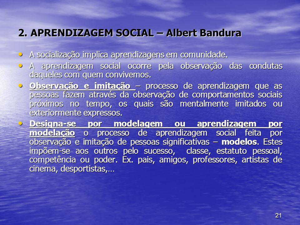 2. APRENDIZAGEM SOCIAL – Albert Bandura